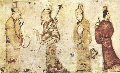 Gentlemen in Conversation, Traditional Brush Painting from the Eastern Han or Three Kingdoms Period (25–220 AD)